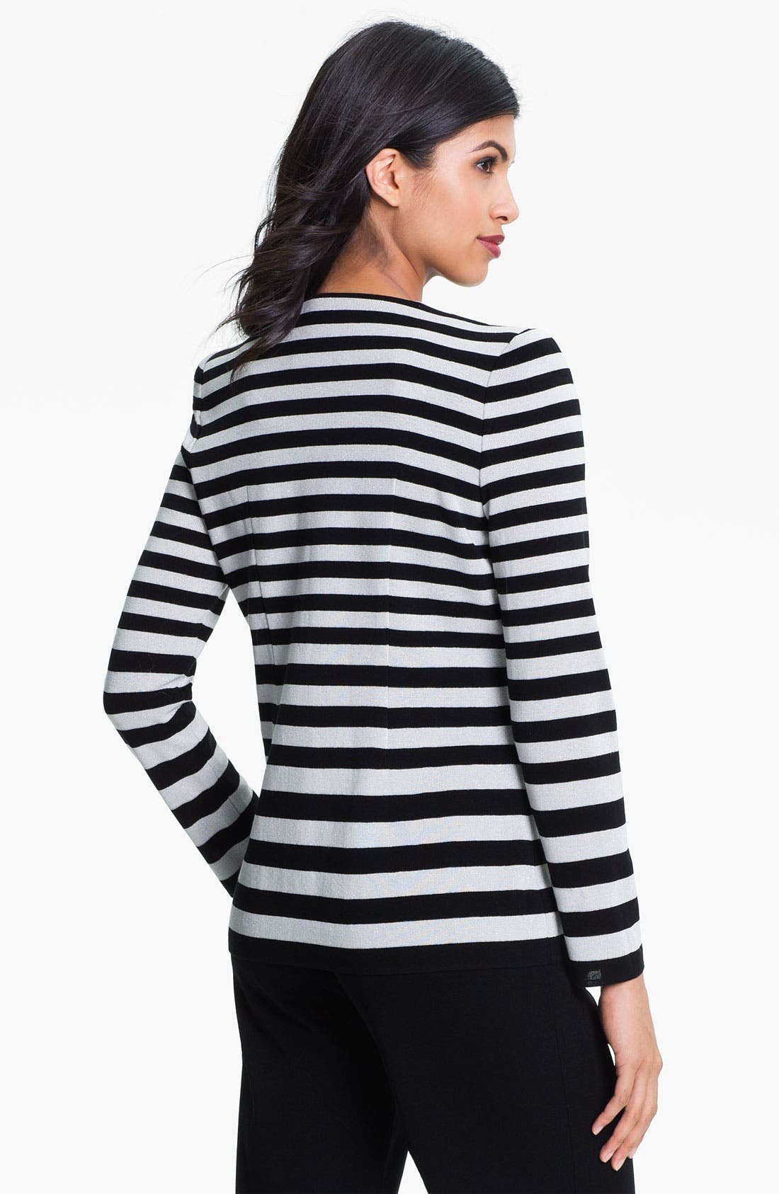 Alternate Image 2  - Exclusively Misook Stripe Knit Jacket