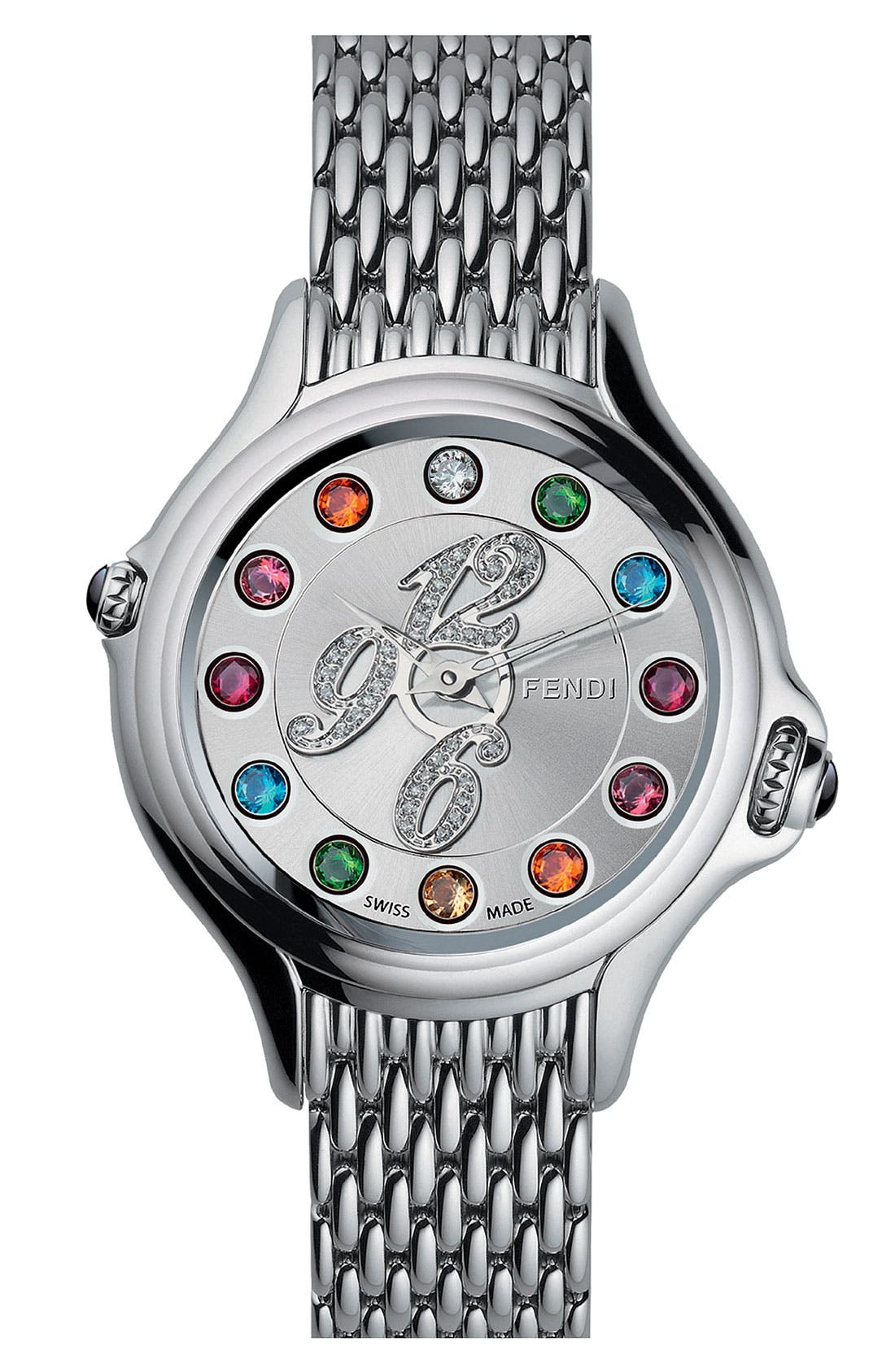 Alternate Image 1 Selected - Fendi 'Crazy Carats' Diamond Dial Bracelet Watch, 38mm