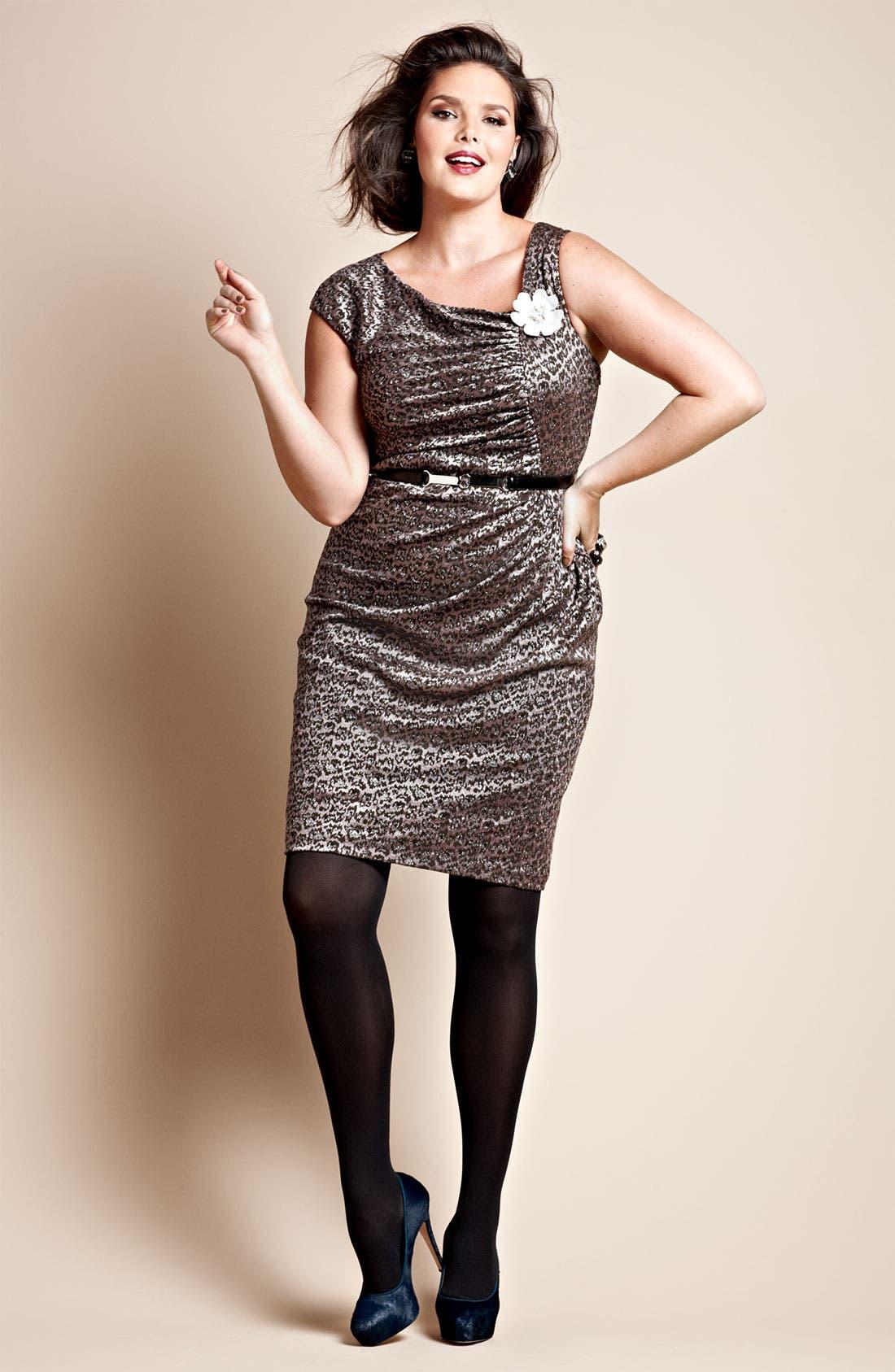 Alternate Image 4  - Adrianna Papell Side Ruched Metallic Sheath Dress (Plus)