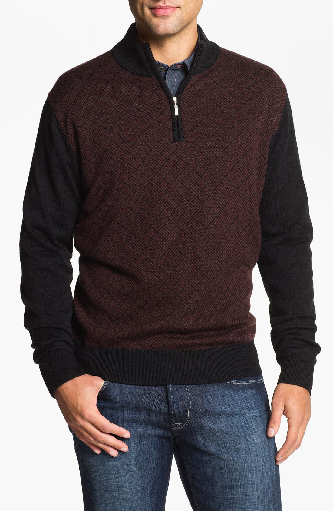 Alternate Image 1 Selected - Toscano Quarter Zip Wool Blend Sweater