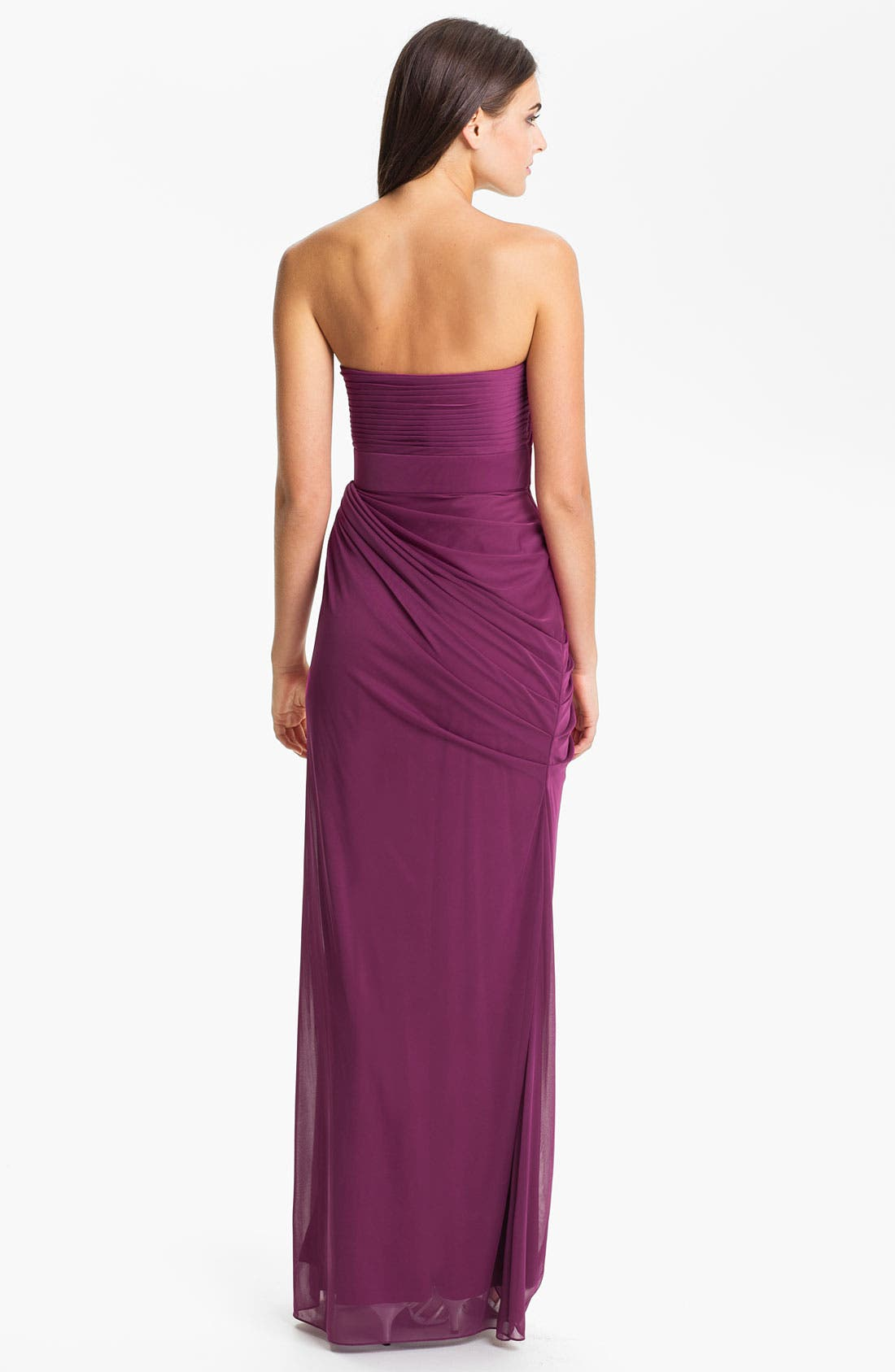 Alternate Image 2  - Adrianna Papell Strapless Draped Mesh Column Gown