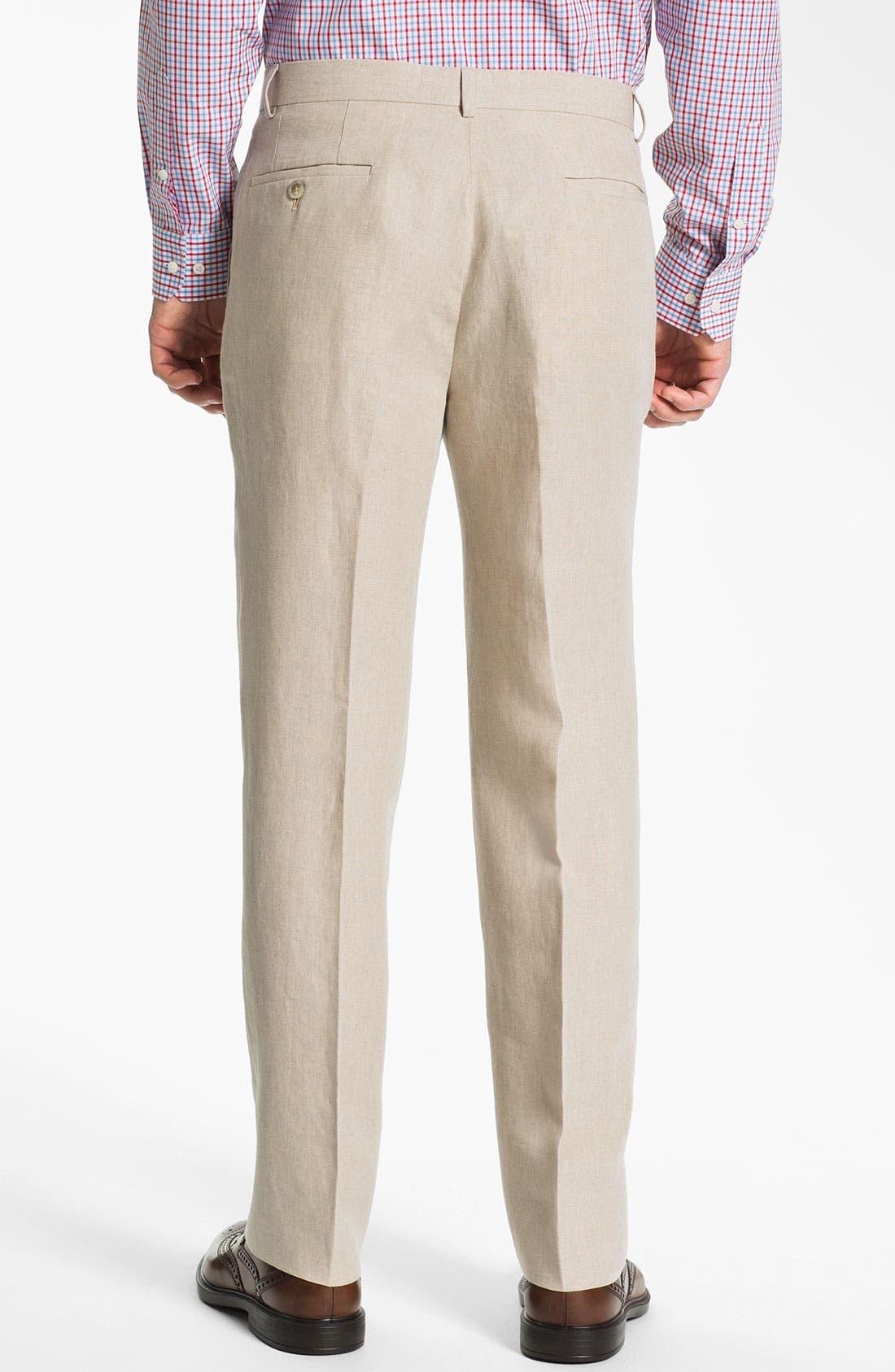 Alternate Image 2  - John W. Nordstrom® Flat Front Linen Pants