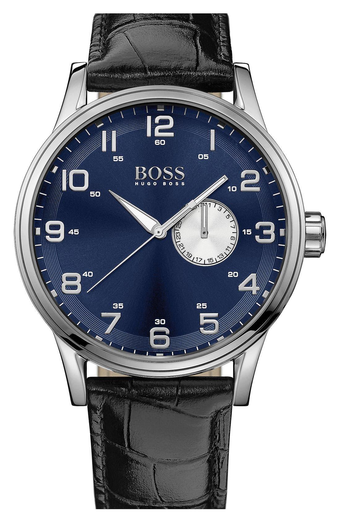 Main Image - BOSS HUGO BOSS 'Aviator' Round Leather Strap Watch, 44mm