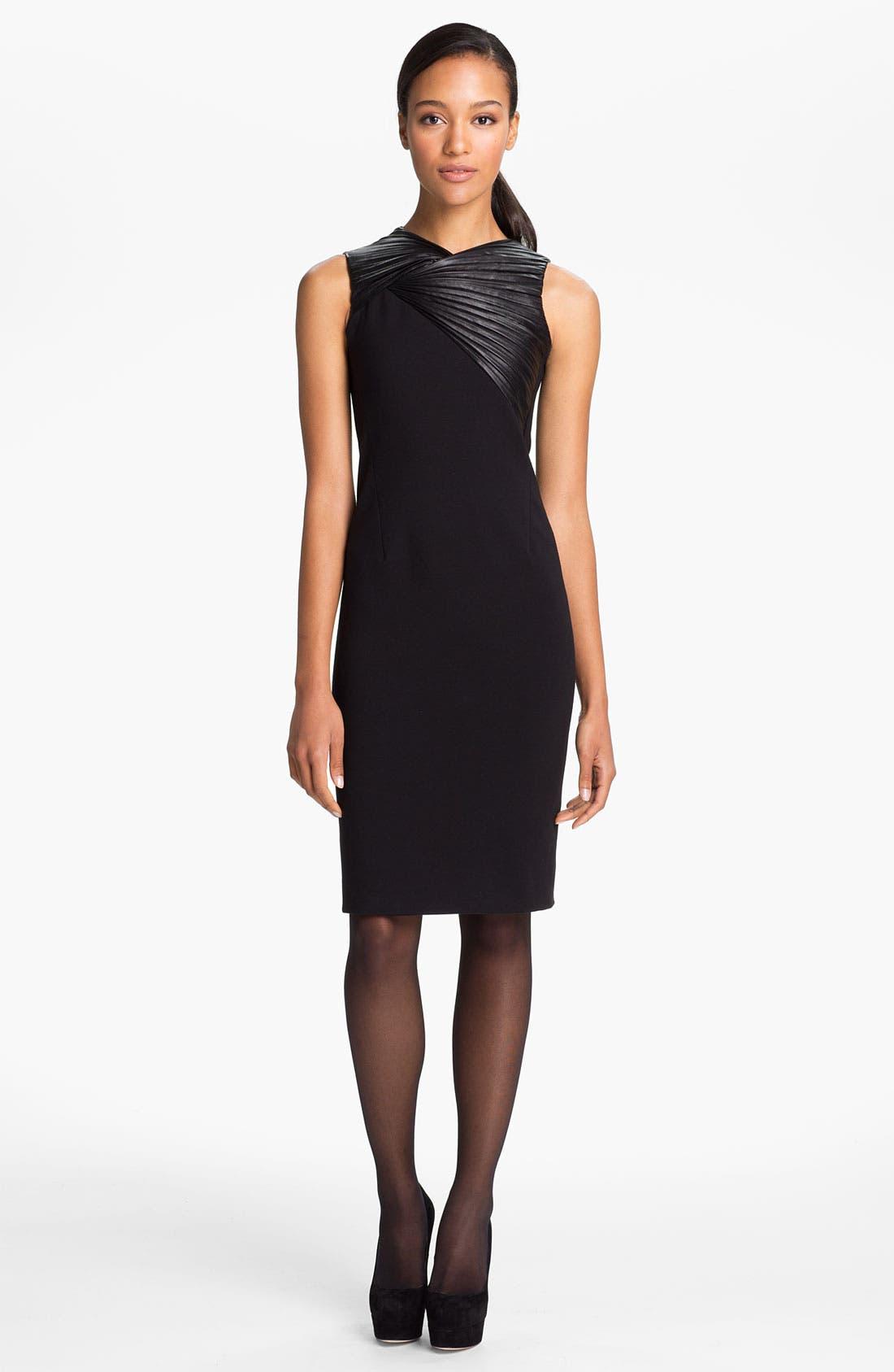 Main Image - Halston Heritage Leather Trim Ponte Knit Dress