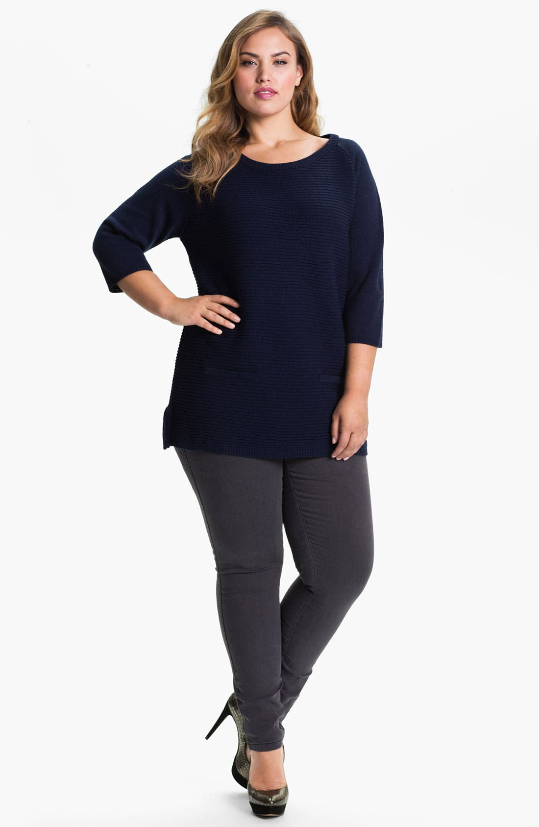 Alternate Image 5  - Evans Straight Leg Slim Jeans (Plus Size)