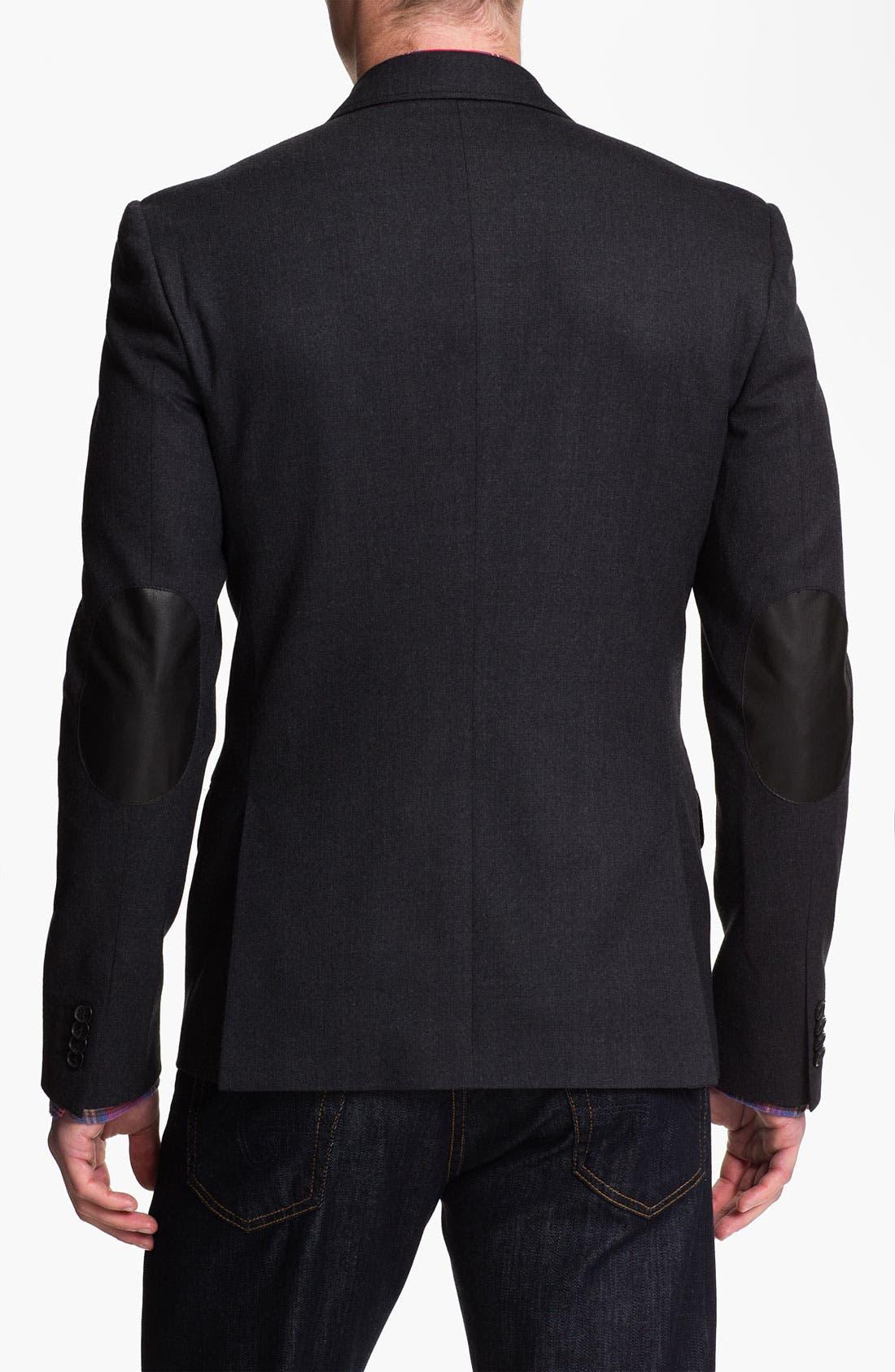 Alternate Image 2  - Michael Kors Wool Blend Blazer with Leather Trim