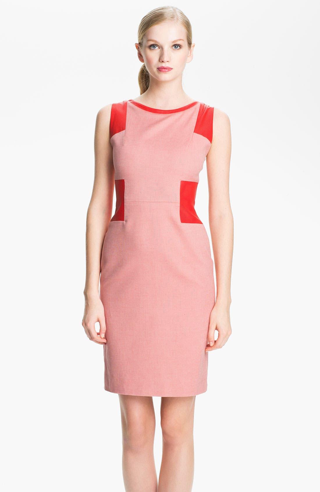 Main Image - Rachel Roy Twill & Leather Sheath Dress