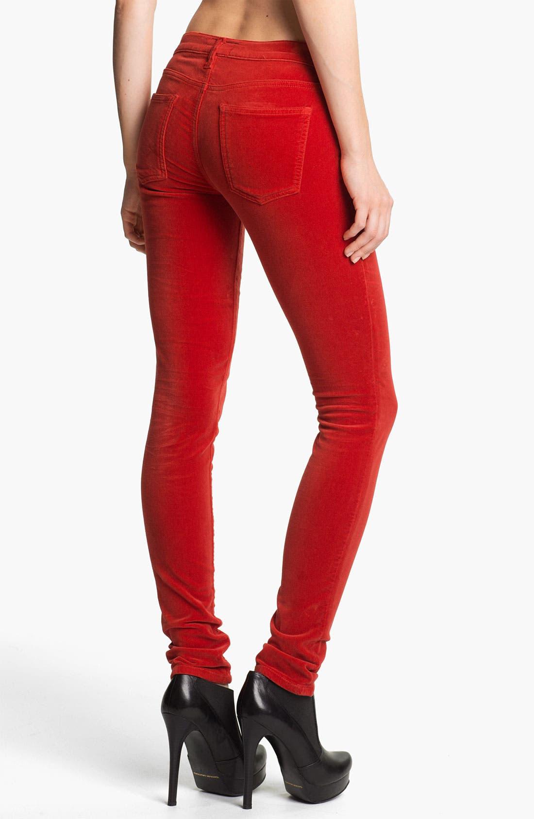 Alternate Image 2  - Current/Elliott Velvet Skinny Pants (Scarlet)