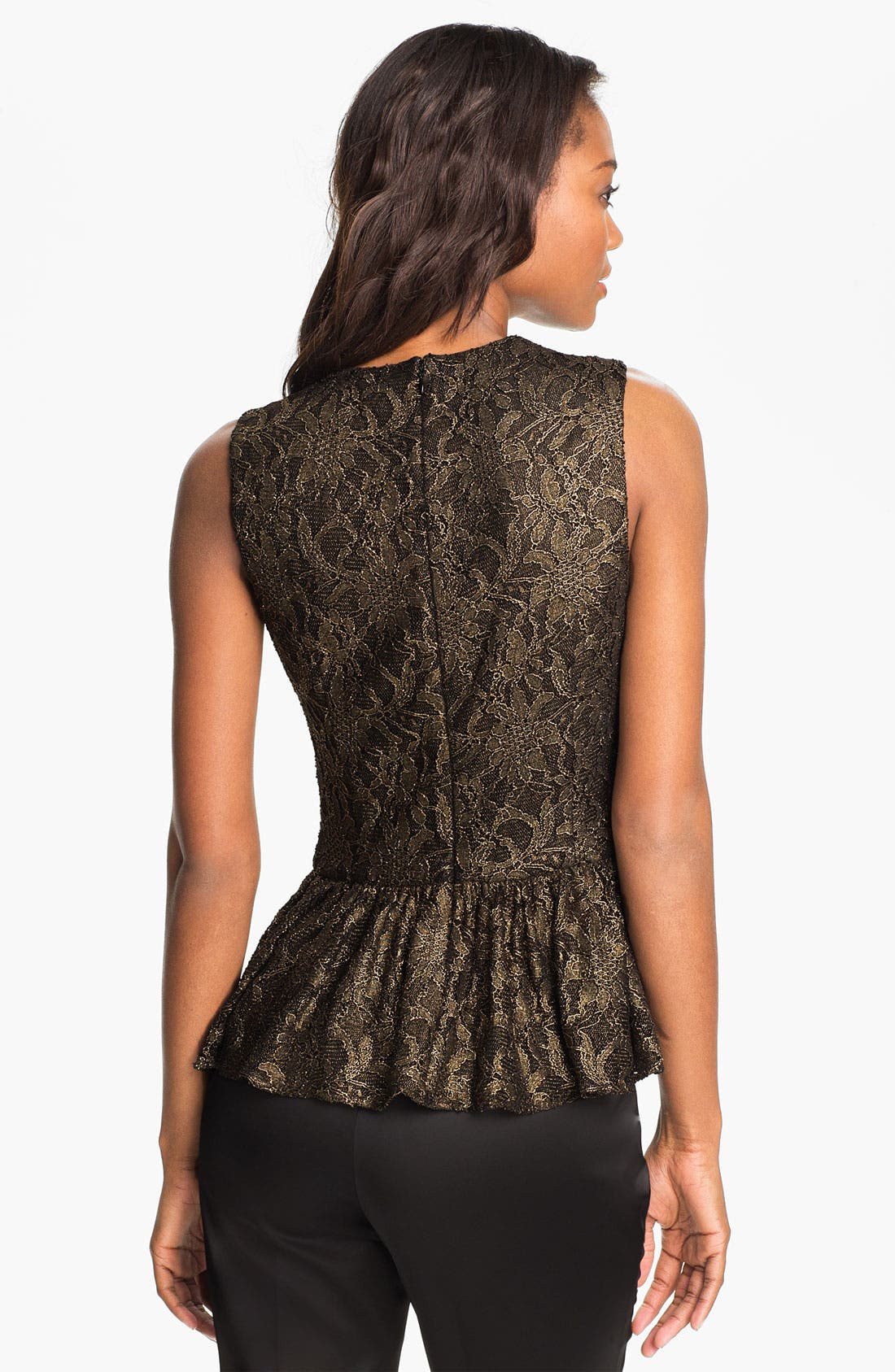 Alternate Image 2  - Vince Camuto Metallic Lace Peplum Top