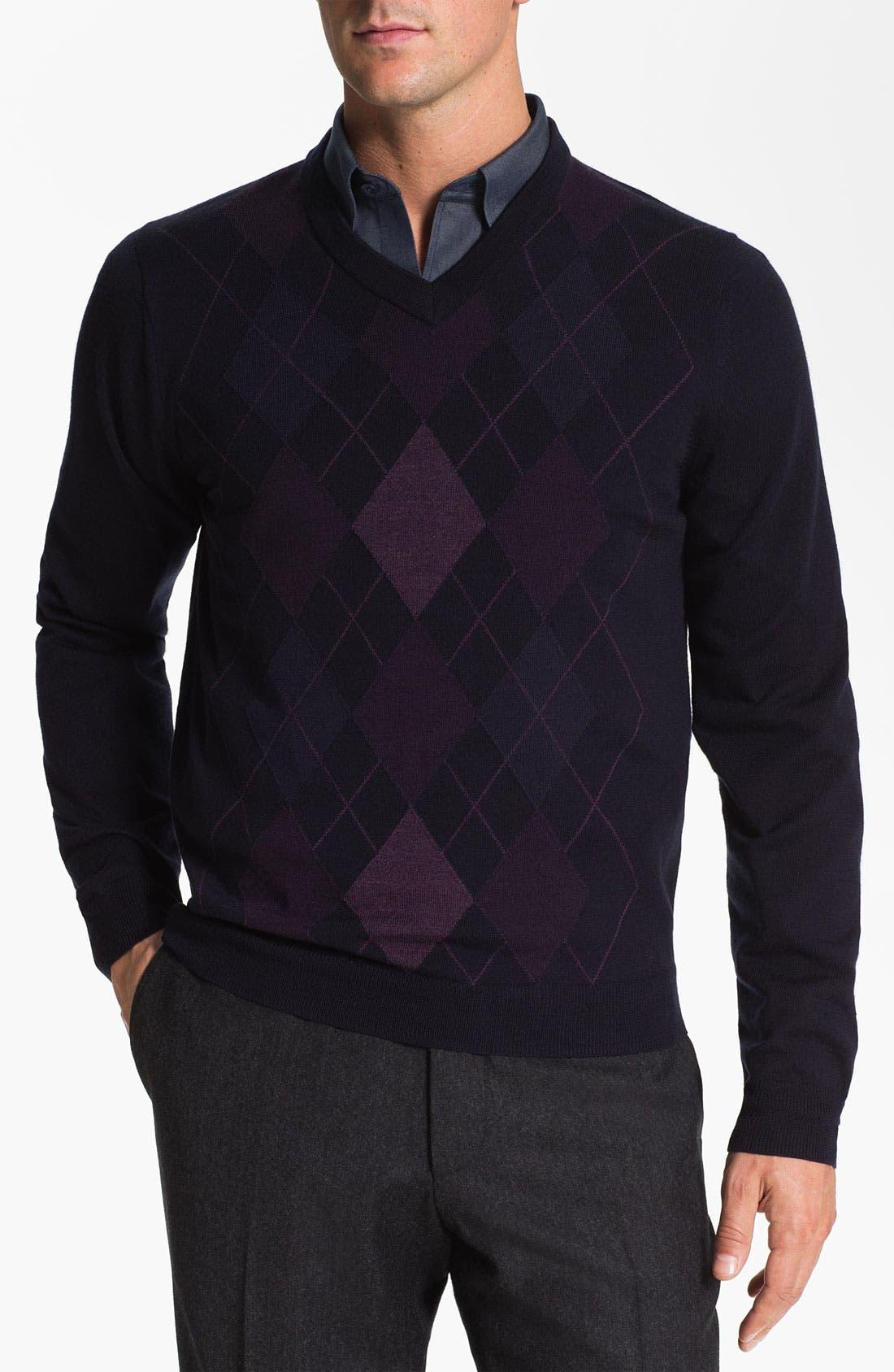 Alternate Image 1 Selected - Nordstrom Argyle V-Neck Sweater