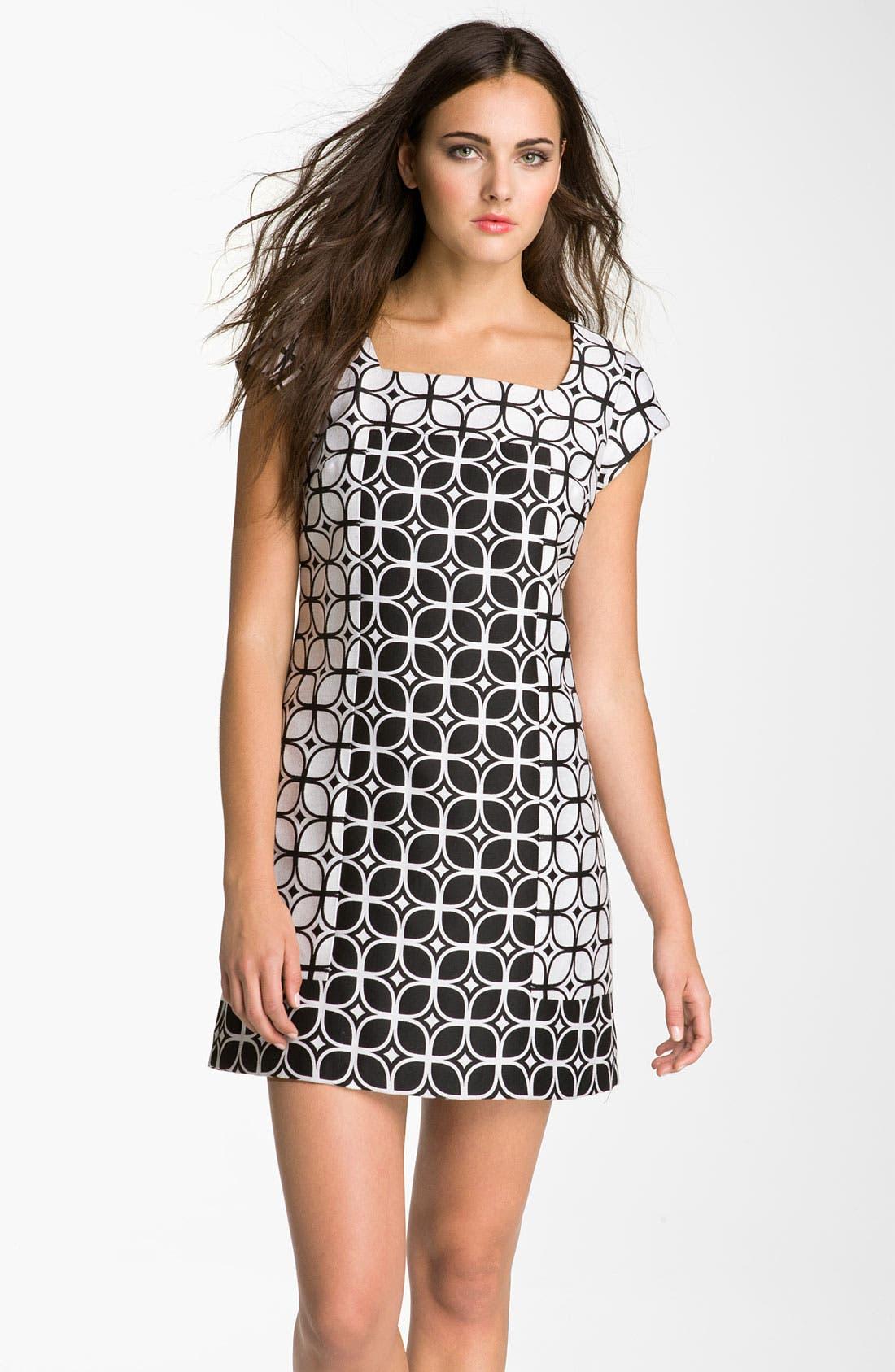 Main Image - Donna Ricco Contrast Zip Jacquard Shift Dress (Petite)