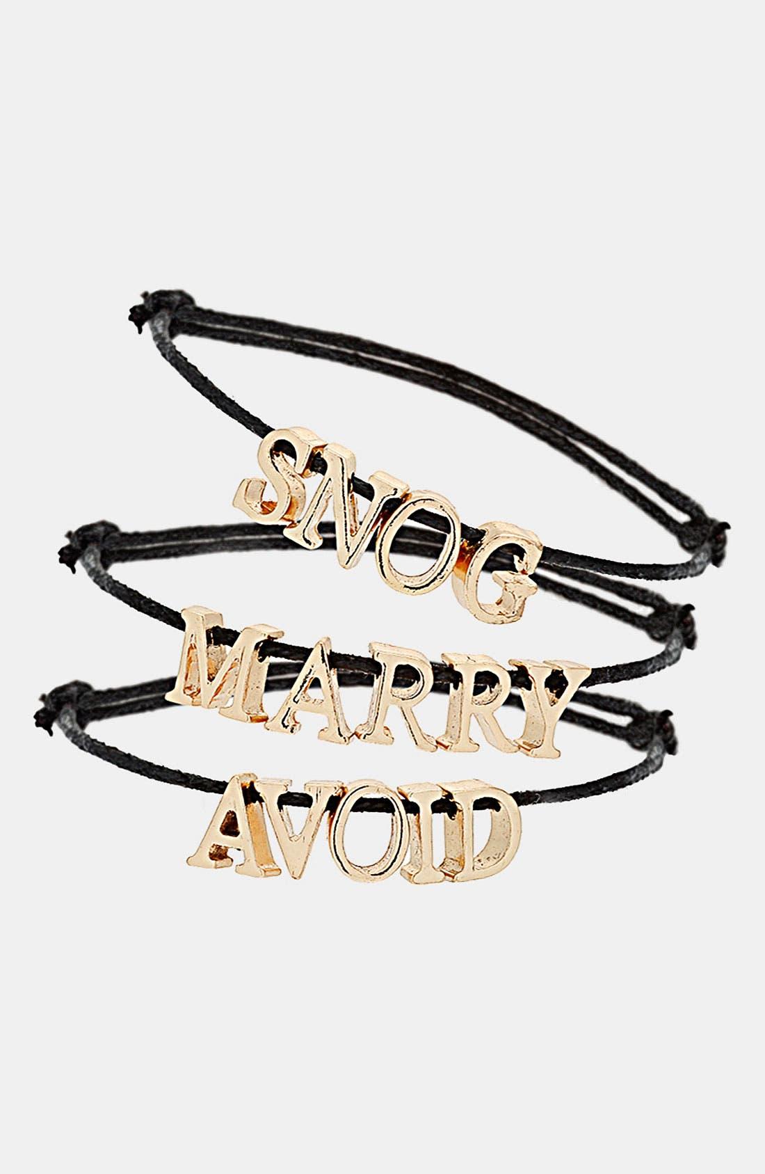 Alternate Image 1 Selected - Topshop 'Snog, Marry, Avoid' Charm Bracelets (Set of 3)