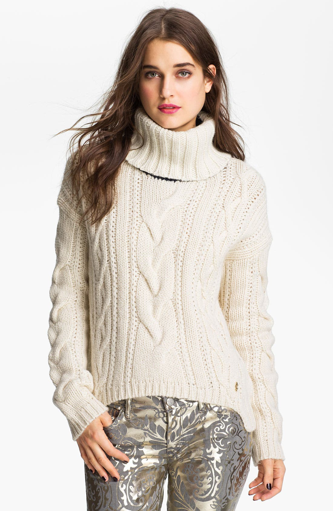 Main Image - Juicy Couture Chunky Cable Turtleneck Sweater