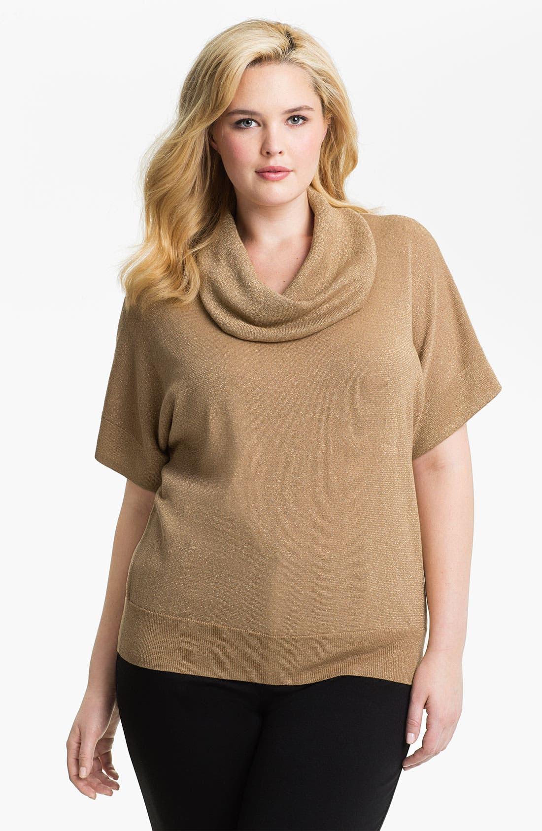 Alternate Image 1 Selected - MICHAEL Michael Kors Metallic Cowl Neck Sweater (Plus)