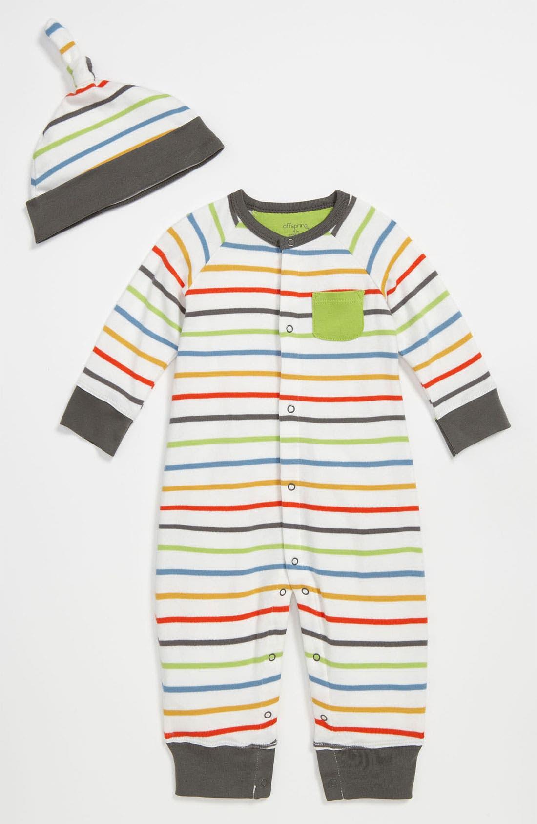 Main Image - Offspring Romper & Hat (Infant)