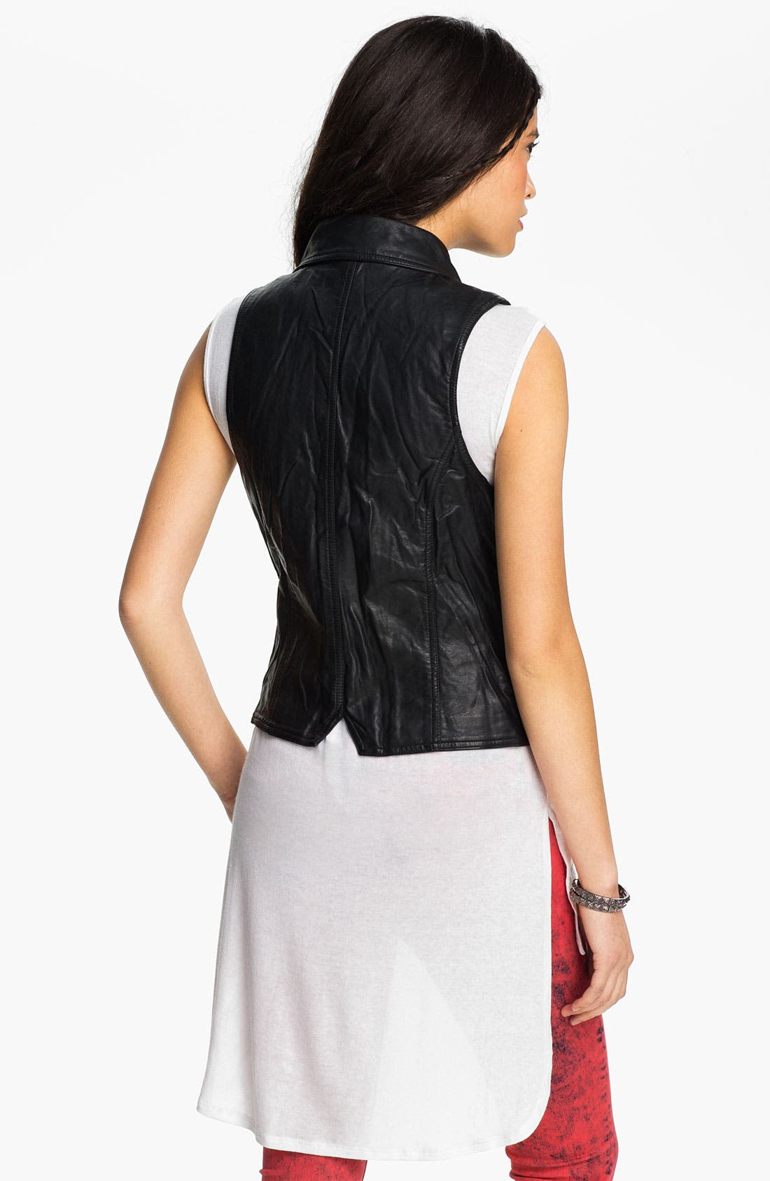 Alternate Image 2  - Thread & Supply Faux Leather Biker Vest (Juniors)