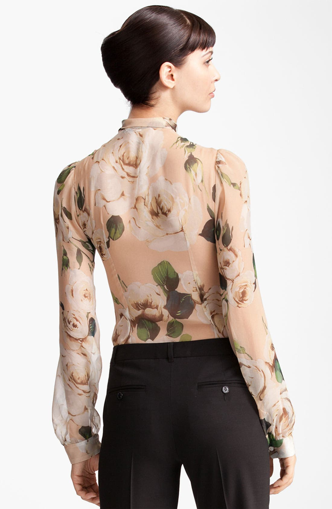 Alternate Image 2  - Dolce&Gabbana Rose Print Chiffon Blouse
