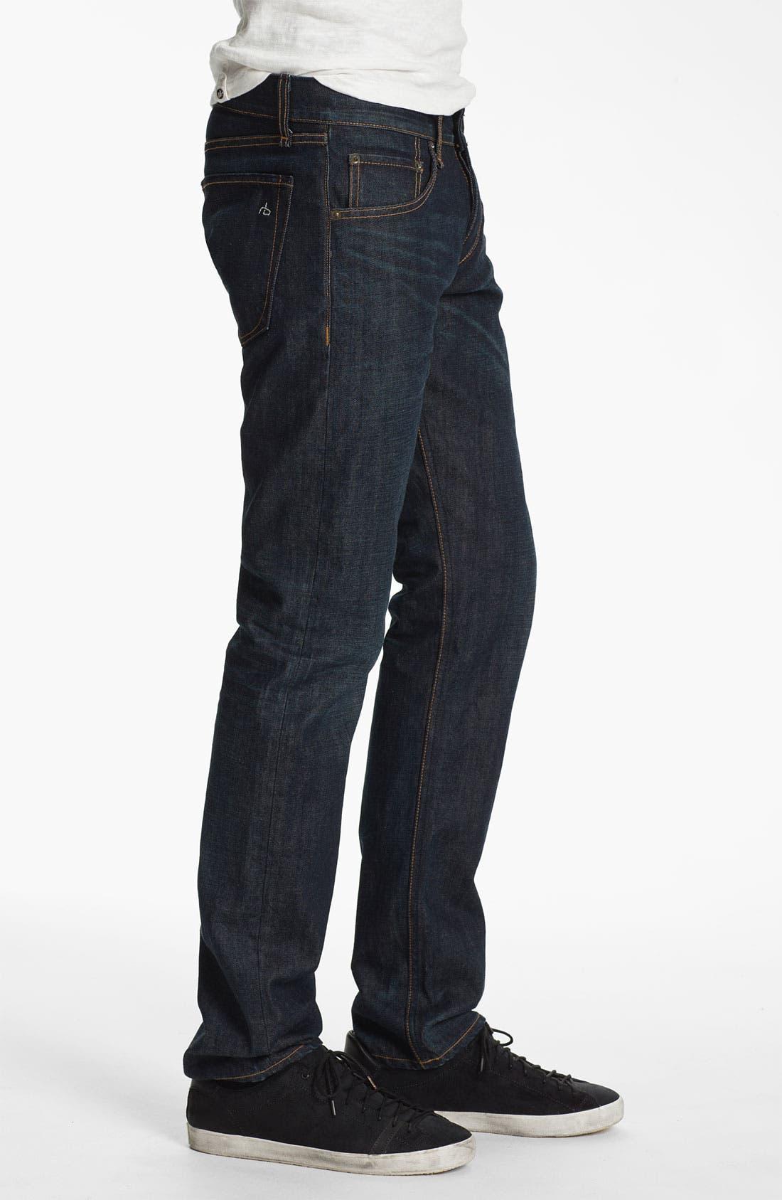 Alternate Image 3  - rag & bone 'RB19X' Slim Straight Leg Jeans (Dover Blue)