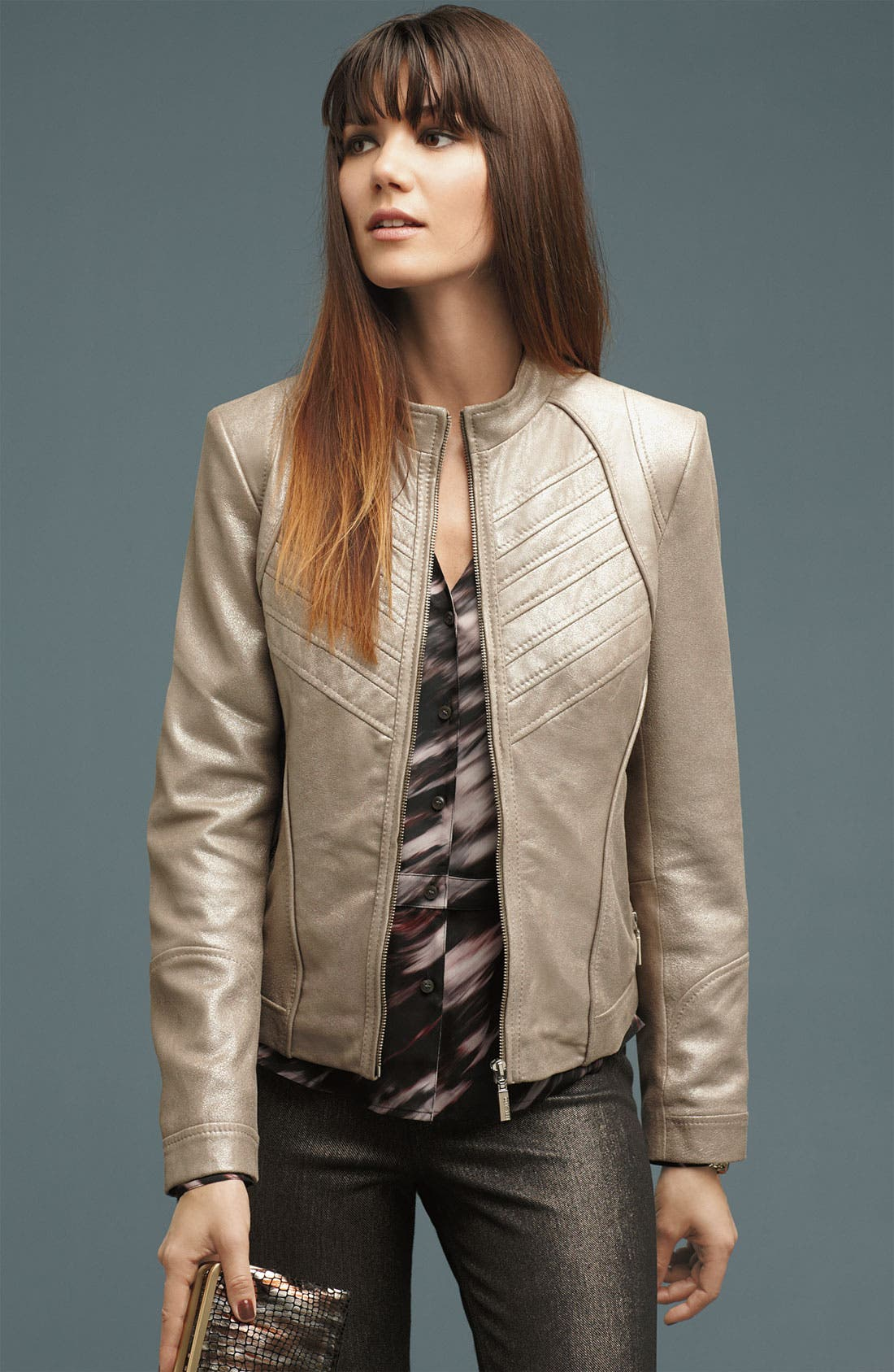 Alternate Image 4  - Bernardo Metallic Leather Scuba Jacket