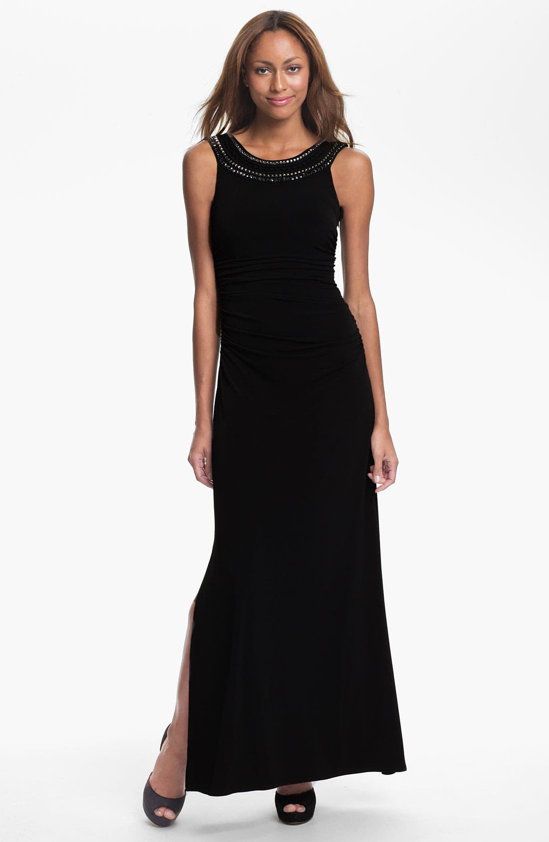 Alternate Image 1 Selected - Laundry by Shelli Segal Embellished Neck Scoop Back Jersey Gown
