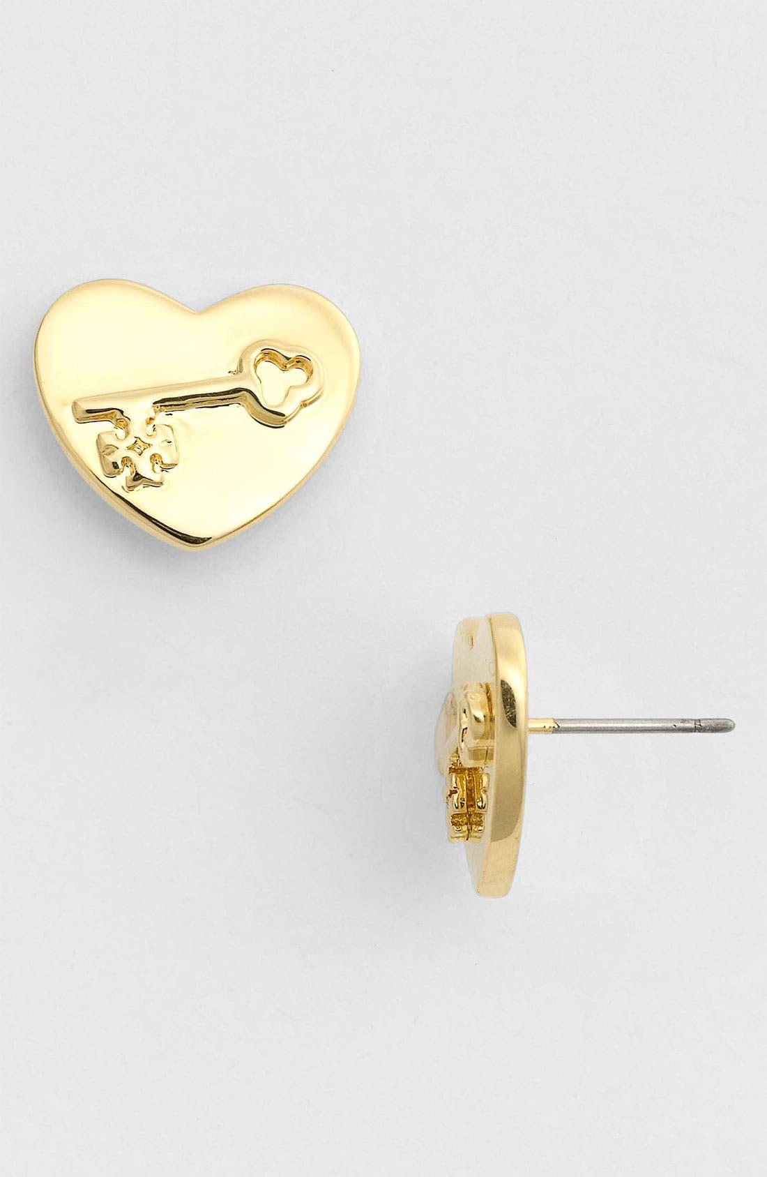 Main Image - Tory Burch 'Louise' Heart Stud Earrings