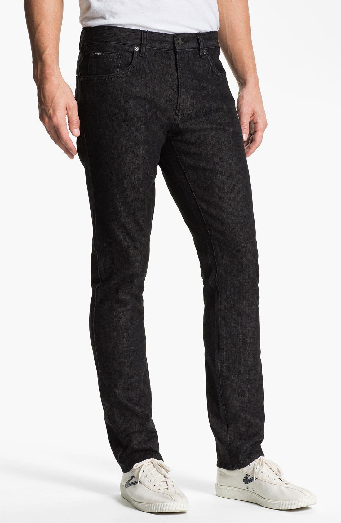 Alternate Image 2  - RVCA 'Daggers' Slim Leg Jeans (Black)