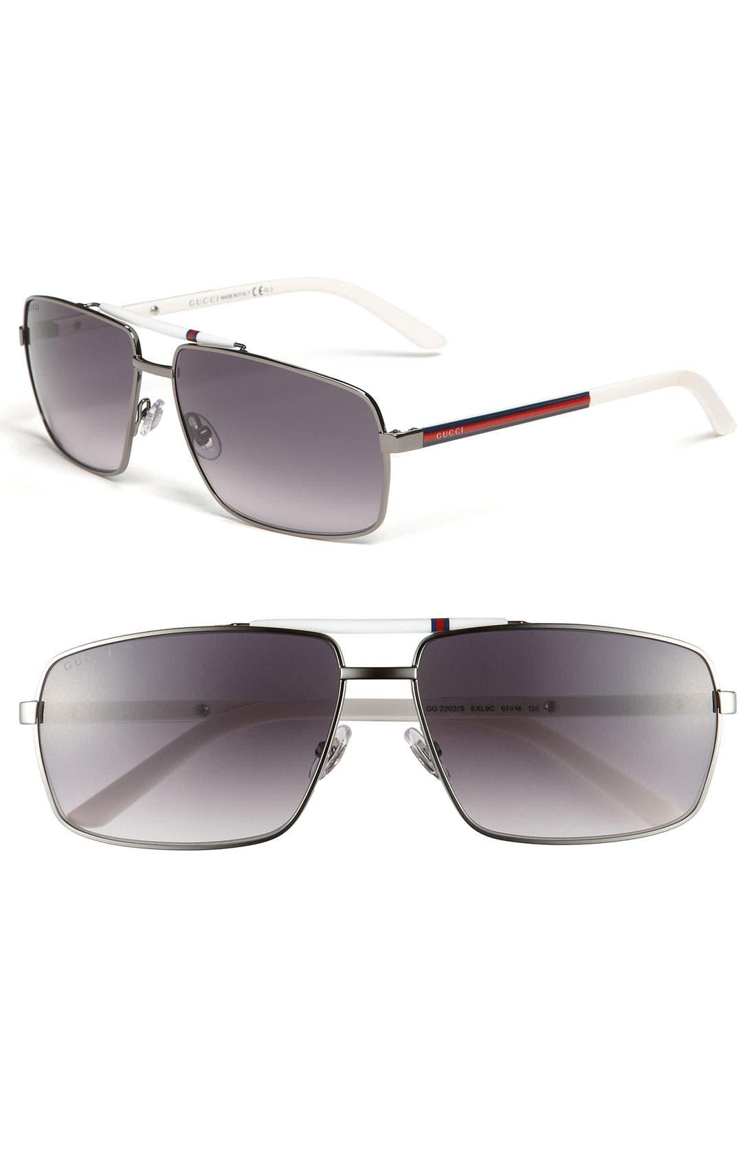Alternate Image 1 Selected - Gucci 61mm Metal Sunglasses