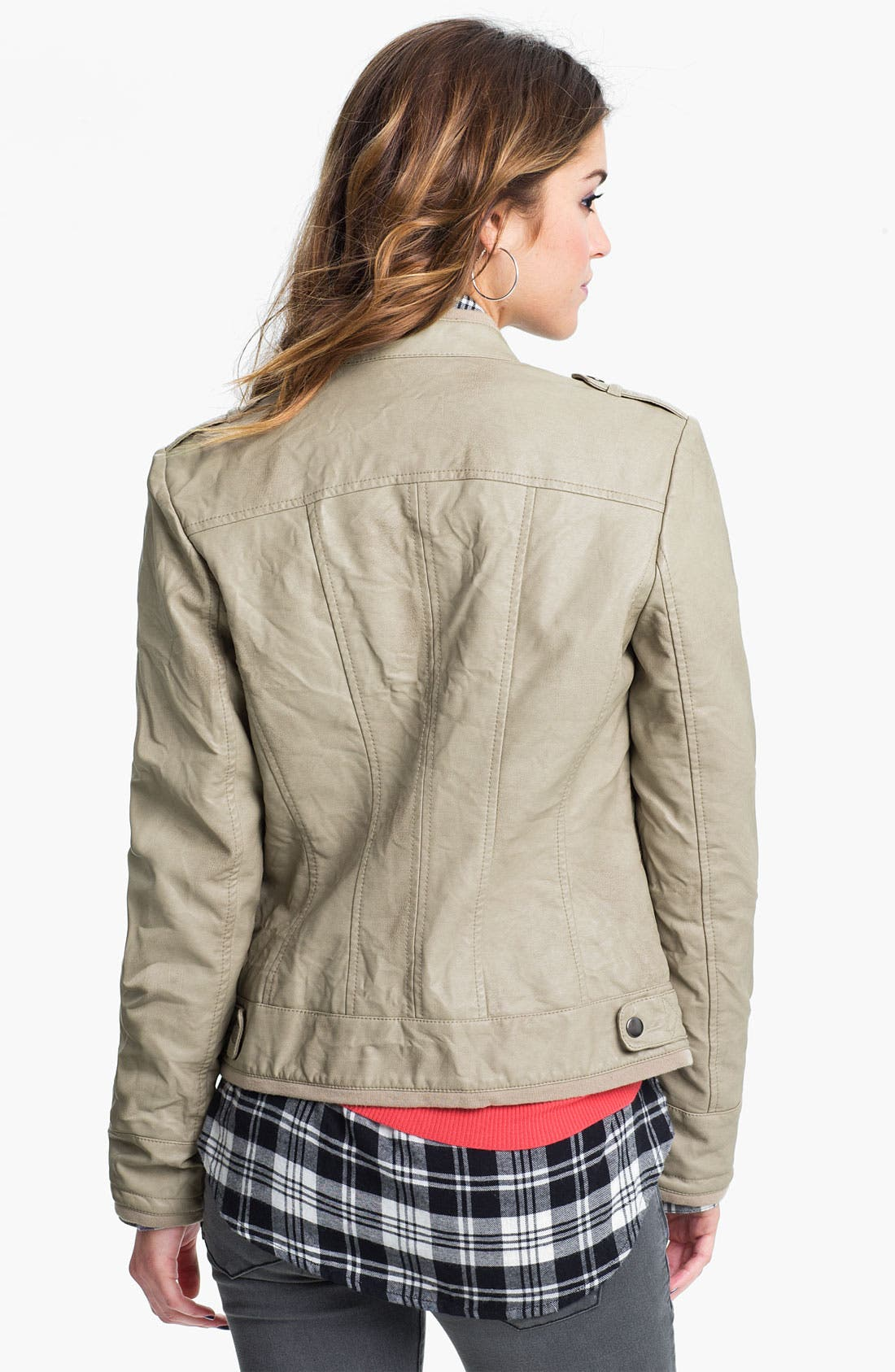 Alternate Image 2  - Collection B Faux Leather Jacket (Juniors)