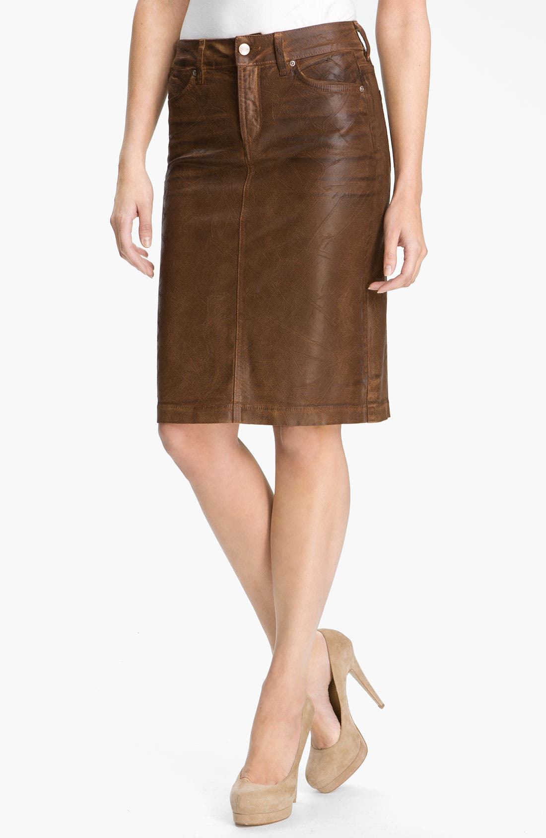 Main Image - NYDJ 'Emma' Coated Twill Skirt (Petite)