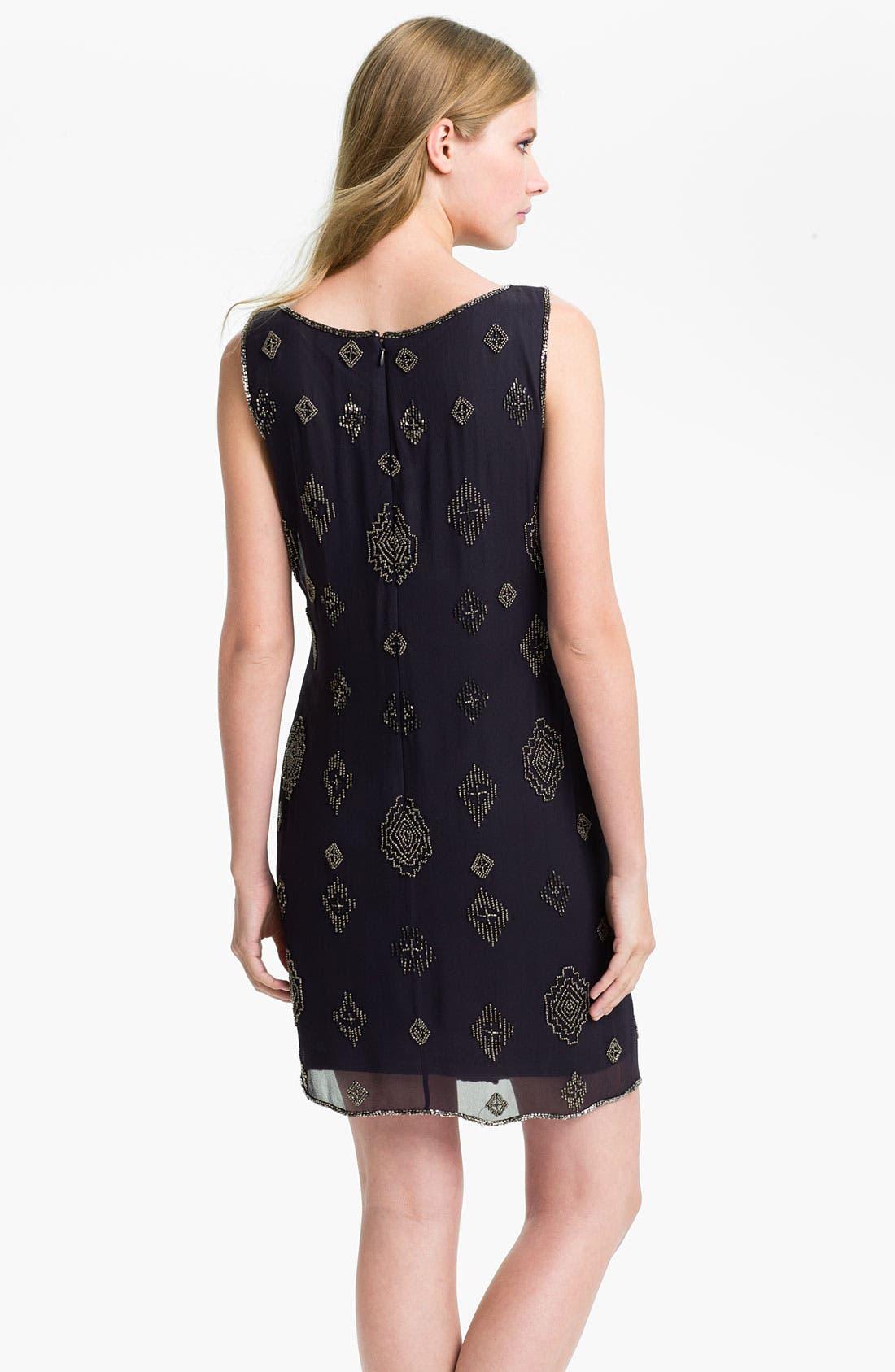 Alternate Image 2  - Adrianna Papell Beaded Silk Chiffon Overlay Dress