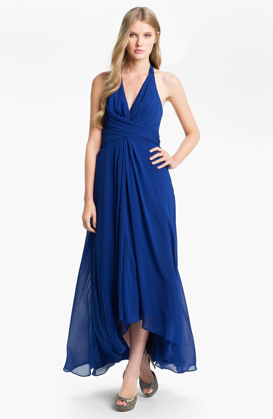 Alternate Image 1 Selected - Donna Ricco Wrap Bodice Chiffon Halter Gown