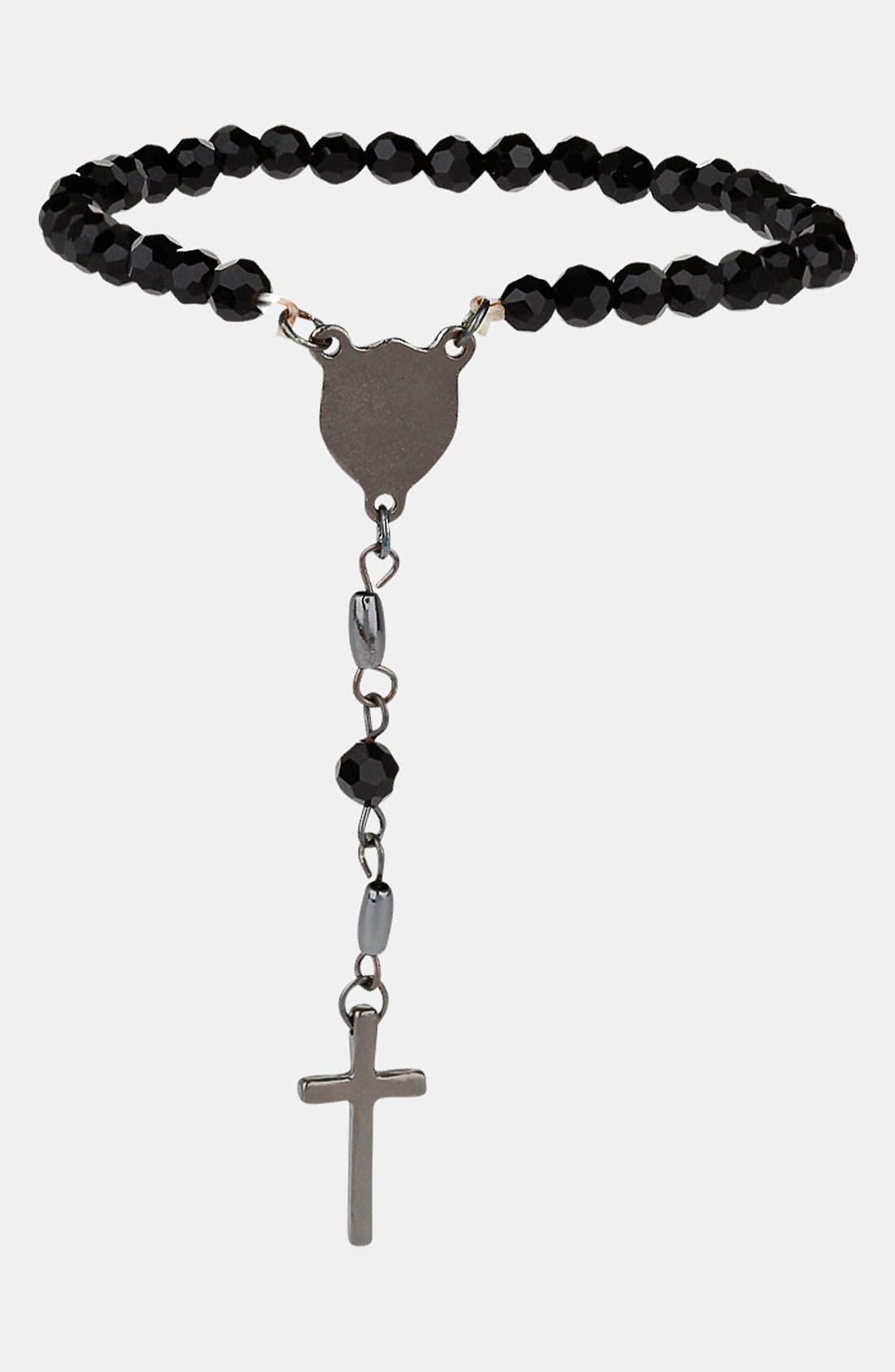 Main Image - Topman Black Bead Rosary Bracelet