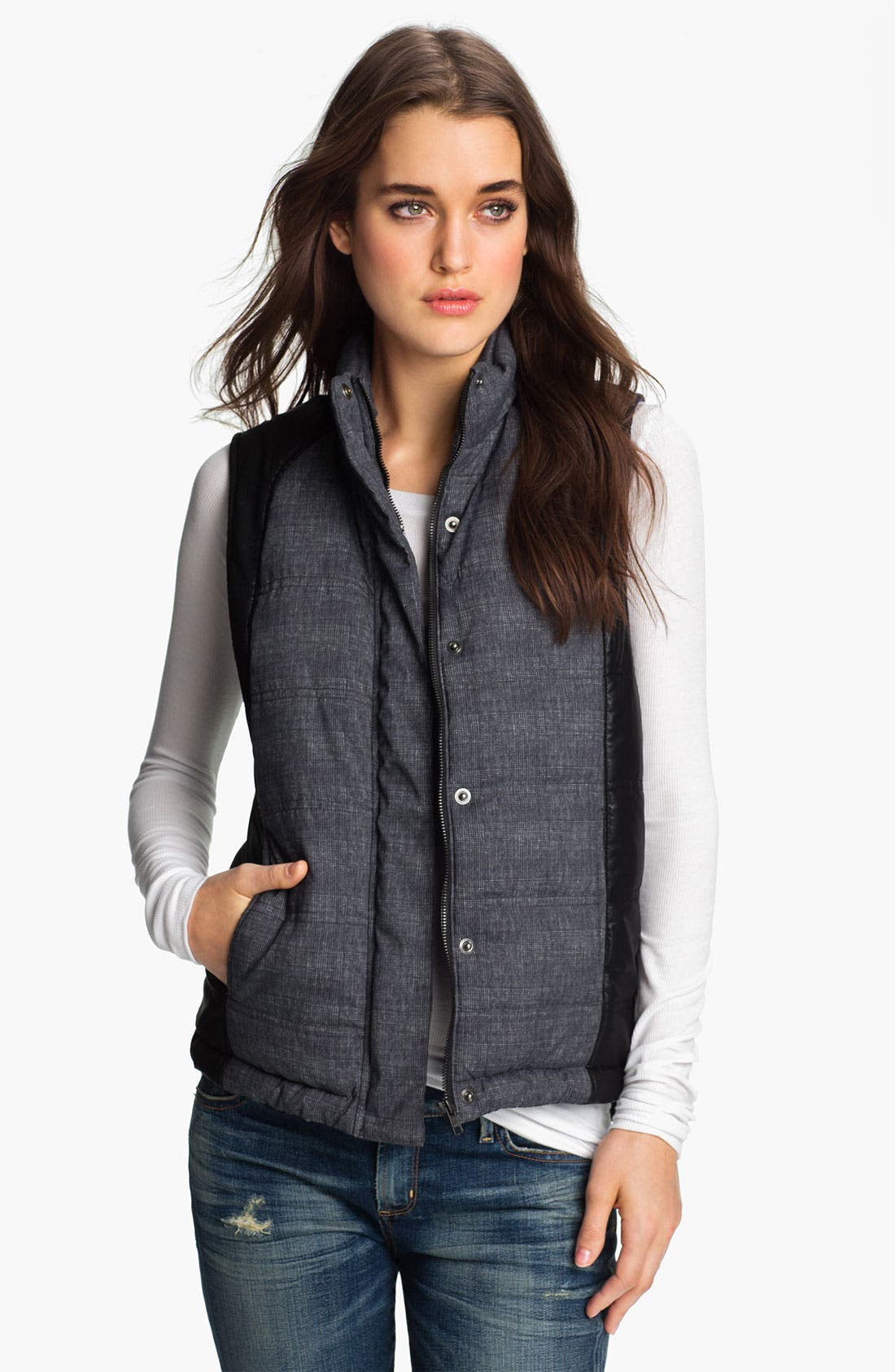 Main Image - Trouvé Colorblock Plaid Puffy Vest