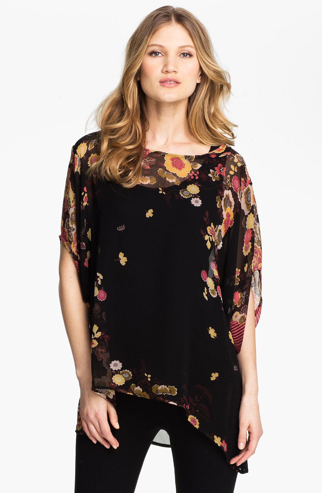 Alternate Image 1 Selected - Citron Print Silk Tunic with Camisole