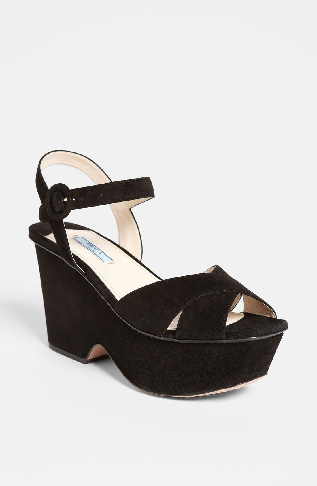 Main Image - Prada Suede Wedge Sandal