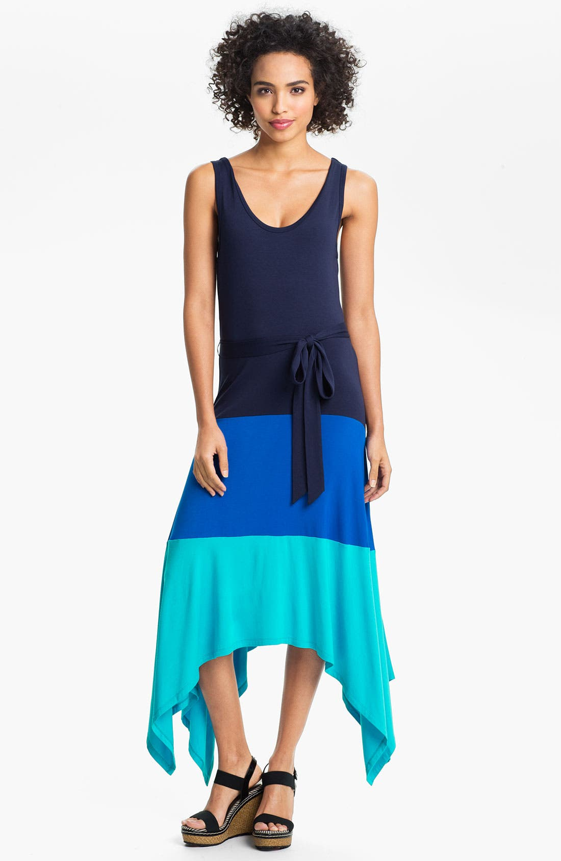 Alternate Image 1 Selected - Calvin Klein Colorblock High/Low Jersey Maxi Dress