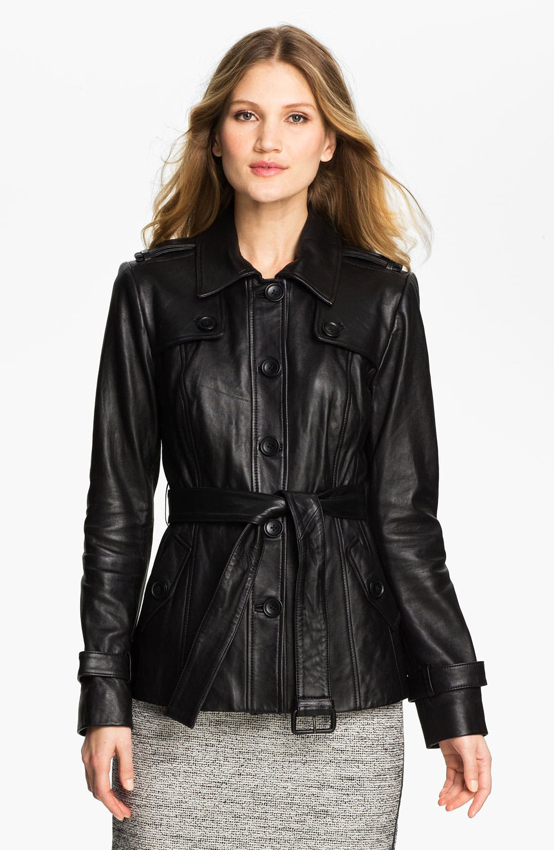 Main Image - Classiques Entier® 'Brenna' Leather Trench Jacket