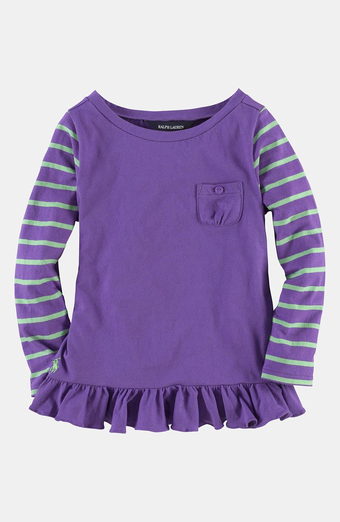 Alternate Image 1 Selected - Ralph Lauren Stripe Sleeve Tee (Toddler)
