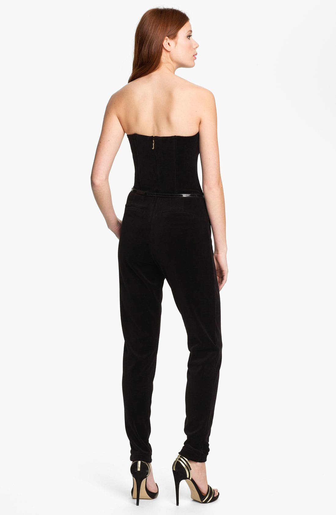 Alternate Image 2  - Juicy Couture Strapless Velvet Jumpsuit