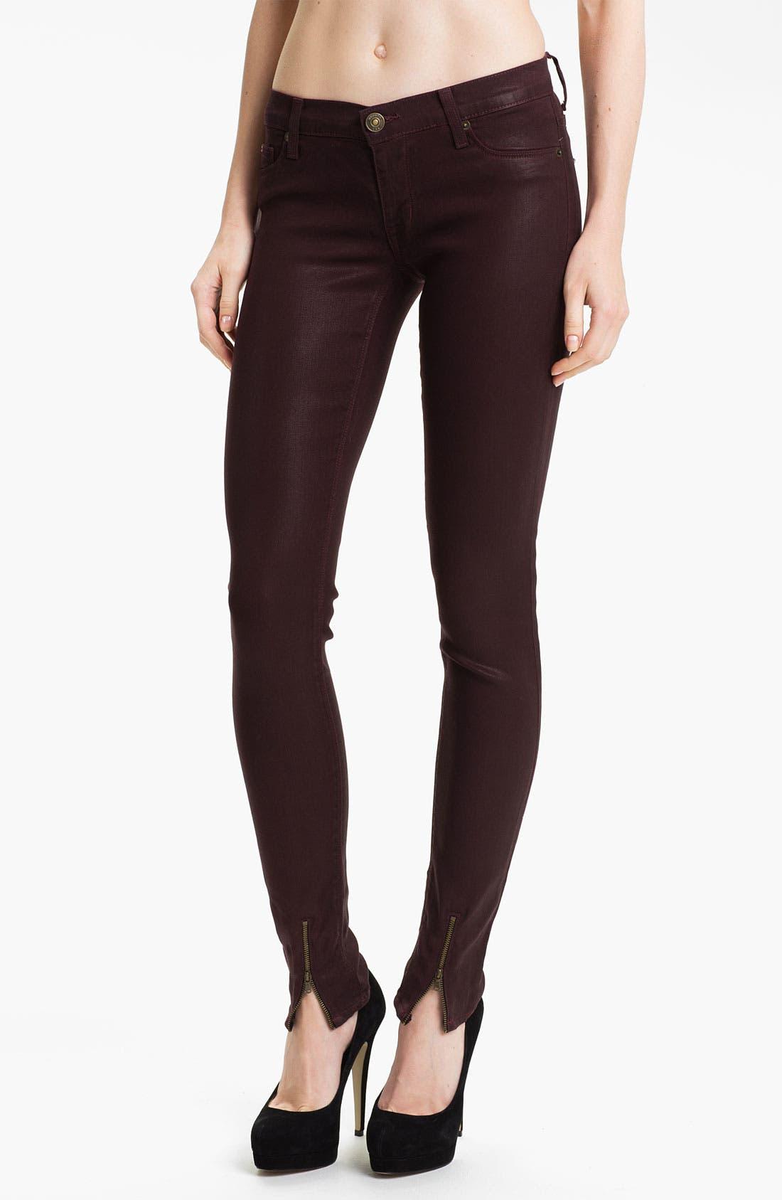Main Image - Hudson Jeans Super Skinny Jeans (Bordeaux Wax)