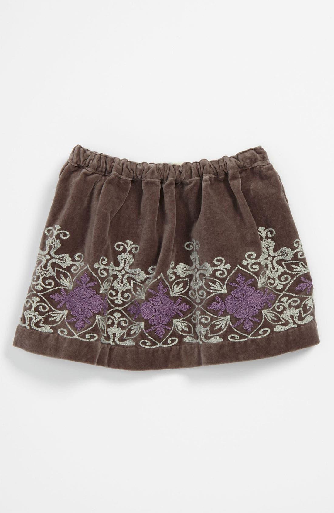 Main Image - Peek 'Frida' Embroidered Velvet Skirt (Infant)