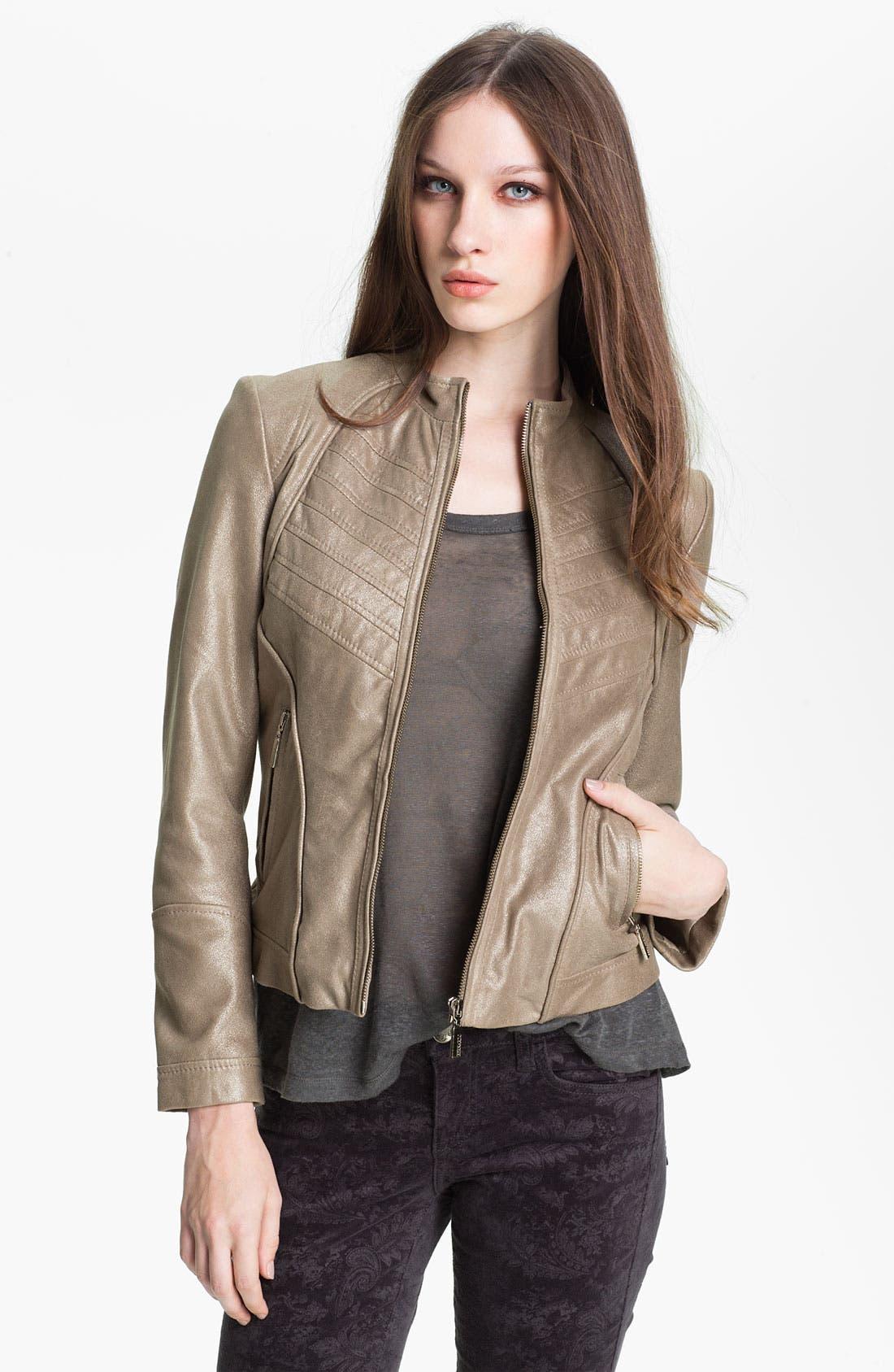 Main Image - Bernardo Metallic Leather Scuba Jacket