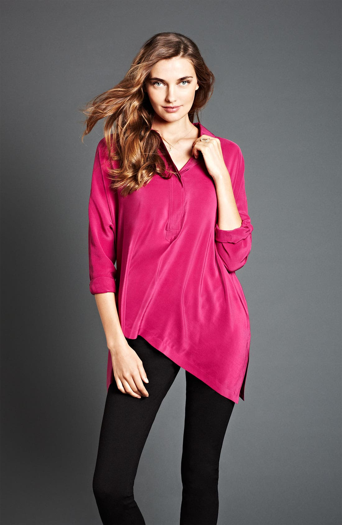 Alternate Image 3  - Eileen Fisher Boxy Silk Shirt
