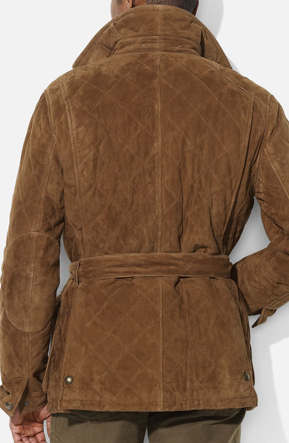 Alternate Image 2  - Polo Ralph Lauren Quilted Suede Car Coat