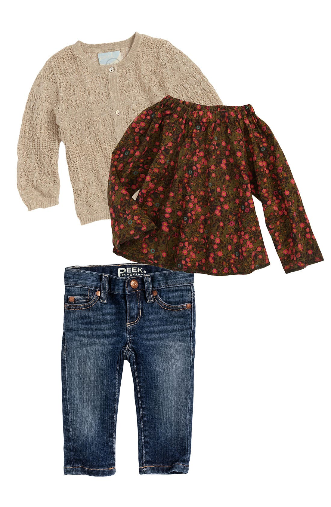 Alternate Image 1 Selected - Peek Woven Top, Cardigan & Skinny Jeans (Infant)