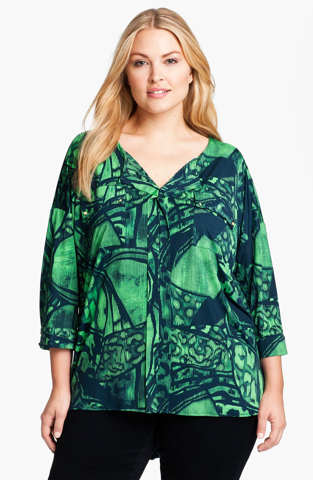 Alternate Image 1 Selected - Tbags Los Angeles Print Blouse (Plus)