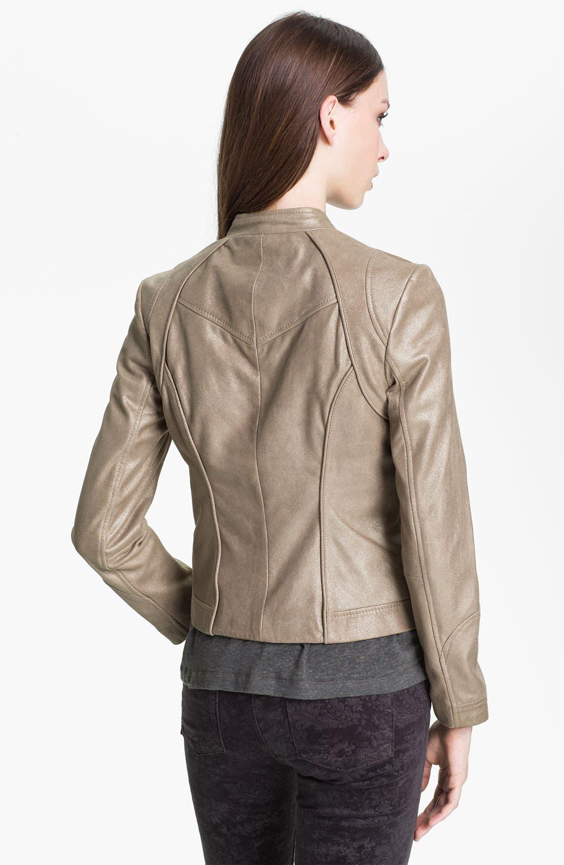 Alternate Image 2  - Bernardo Metallic Leather Scuba Jacket