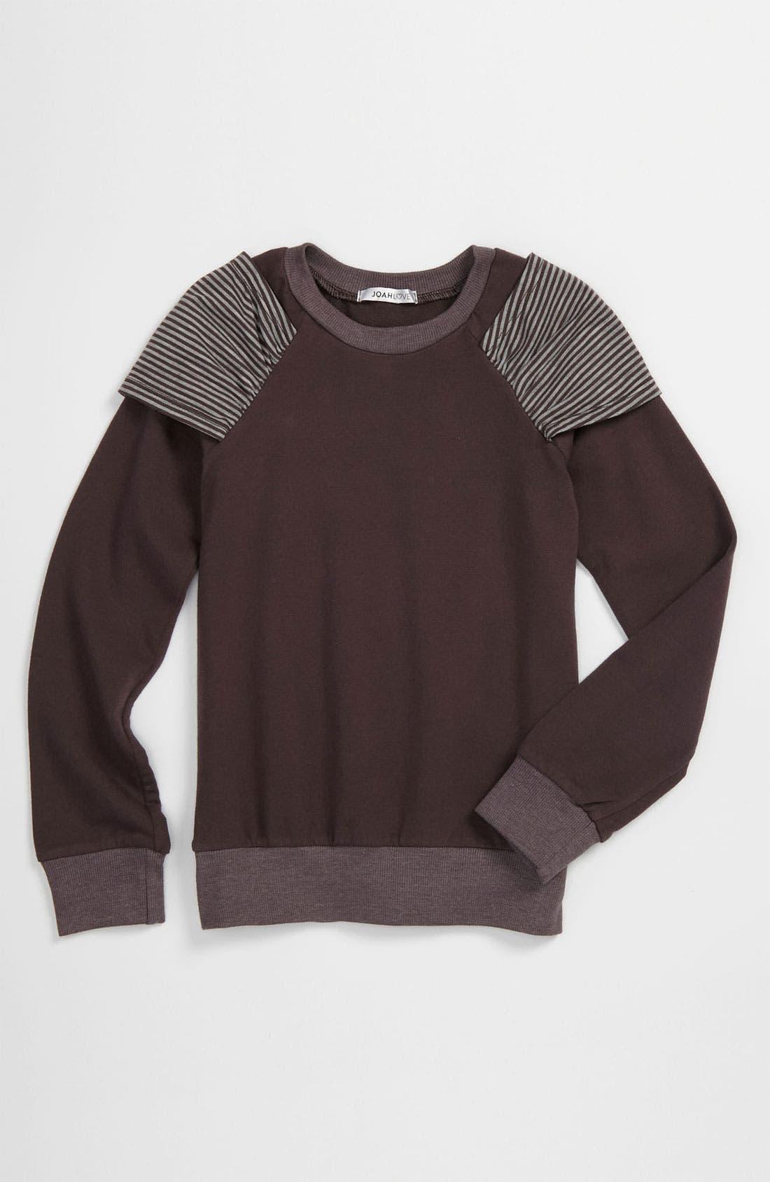 Alternate Image 1 Selected - Joah Love Shoulder Wrap Sweatshirt (Little Girls & Big Girls)