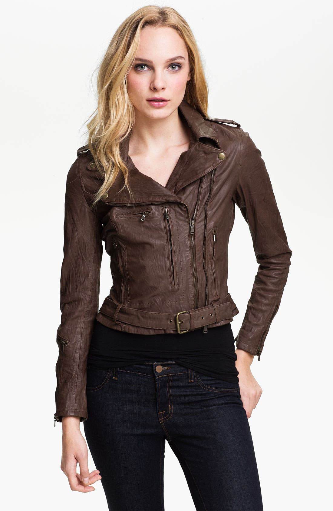 Main Image - Kenna-T Cropped Leather Biker Jacket