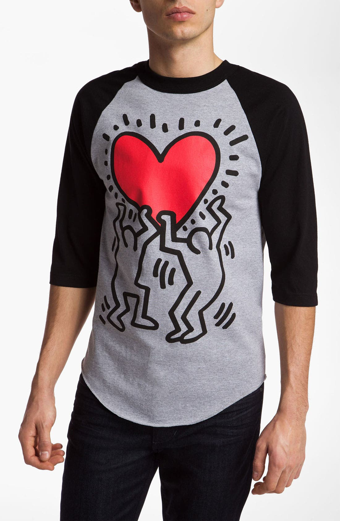 Alternate Image 1 Selected - Obey 'Haring Heart' Graphic Baseball T-Shirt